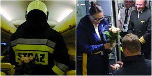 Strażak oświadczył się w samolocie